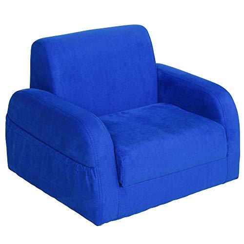HOMCOM Sillón para Niños Sofá Transformable Diseño 2 en 1 Cama Infantil Plegable de 2 Posiciones con Reposabrazos Asiento Ancho Acolchado Cómodo 51x45x38 cm Azul
