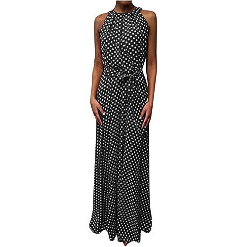 N\P Ropa de mujer Dot Impreso Halter Vestido Verano Playa Sin Mangas Arco Vestido de Fiesta