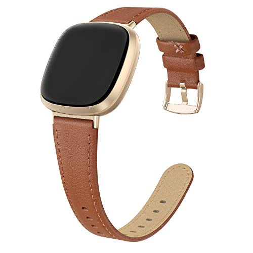 EDIMENS Kompatibel mit Fitbit Versa 3 / Fitbit Sense Armband Leder, Lederarmband Kompatibel für Fitbit Versa 3 / Sense Armbänder Leder Damen Herren Sport Braun mit Goldschnalle