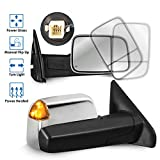 MOSTPLUS Chrome Housing Power Heated Towing Mirrors Compatible for 02-09 Ram Flip Up Left Right Pair w/Turn Signal Light (Set of 2)