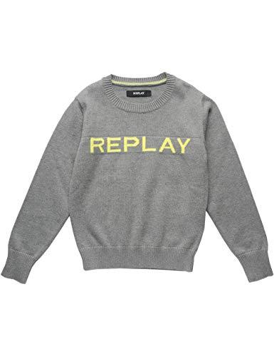 Replay Jungen SB5051.050.G21280T Pullover, Grau (Grey Melange M04), 164 (Herstellergröße: 14A)
