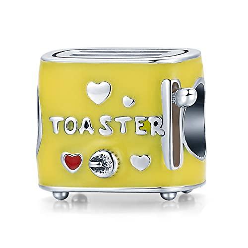 HMMJ Cuentas colgantes de plata esterlina S925 para mujer, máquina para hacer pan de cocina, tostadora de aceite con goteo amarillo, compatible con todas las pulseras y collares de estilo europeo SCC1