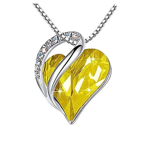 haoricu Love Heart Pendant Necklace with Birthstone Crystals, Jewelry Gifts for Women Birthday/Anniversary Day/Party Yellow