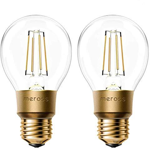 Smart Vintage Glühbirne Meross WLAN Glühbirne Dimmbare LED Lampe, Smart Edison Retro Lampe Warmweiß, kompatibel mit Alexa, Google Assistant und SmartThings, E27 A19, 60W Äquivalent, 2 Stücke