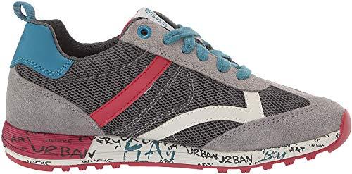 Geox Jungen J ALBEN Boy A Sneaker, Grau (Grey/Dk Red C1102), 38 EU