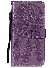 Lijc Compatible con Funda iPhone 11 Prima PU Cuero Dar La Vuelta Cartera Atrapasueños En Relieve Patrón Caso [Ranura para Tarjetas] [Soporte Plegable] Antigolpes Cubrir-Púrpura