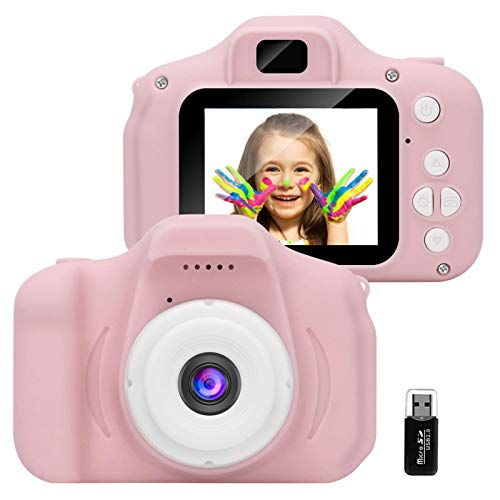 GlobalCrown Kids Camera,Mini Rechargeable Child Digital Camera Shockproof Video Camcorder Gifts for 3-8 Year Old Boys Girls,8MP HD Video 2 Inch Screenfor Outdoor Play(32GB Card Included)