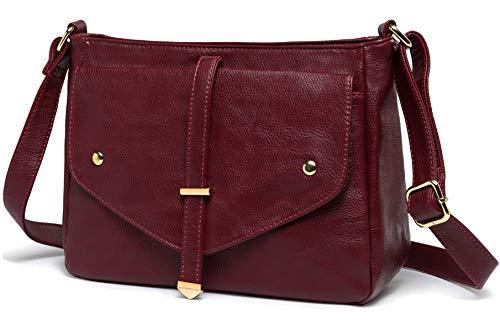 Cross Body Bag for Women, Vaschy Soft Vegan Leather Shoulder Bag Fashion Ladies Handbag Multi-Pockets Purse (Burgundy)