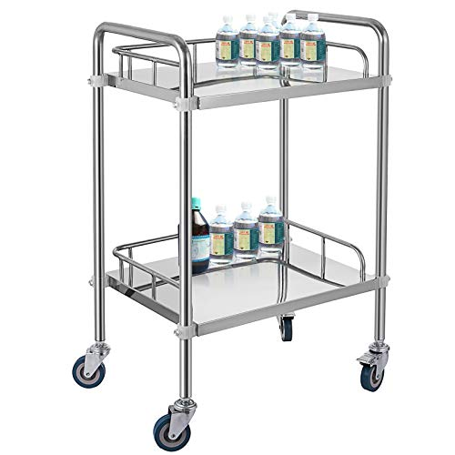 VEVOR Servierwagen Edelstahl Serving Lab Trolley 2 Böden Laborwagen Tragbar Abräumwagen Medical Dental Lab Cart Transportwagen Rollwagen Medizinisch Universalräder Zwei Fußbremsen Breite Anwendung