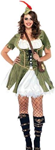 erdbeerloft–Chaleco de Robin Hood Disfraz con mujer, sombreros y bandolera, XXL de 3x l, color verde