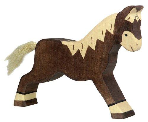 Holztiger Pferd, laufend, dunkelbraun, 80034