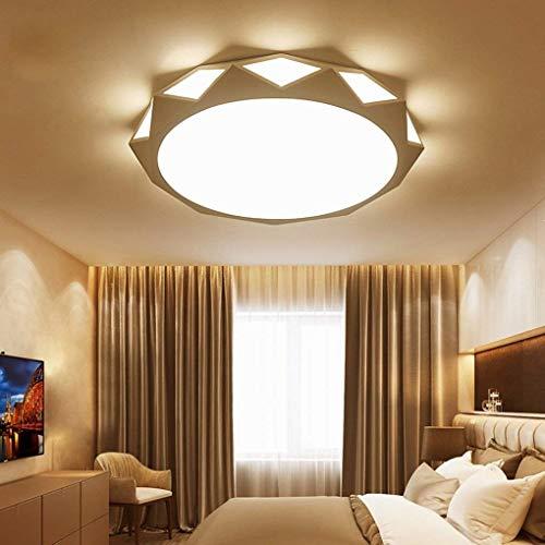 Zzaoxin Lámpara de Techo Moderno LED Creativo Jardín De Infantes Estudio Sala De Estar Dormitorio Arte Redondo Blanco Acrílico Metal Lámpara De Techo