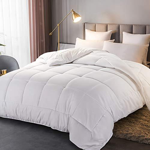 ASHOMELI Weiße Steppdecke für Doppelbett, Schlafen wie ein Holzstamm, Alternative Daunendecke mit Ecklaschen, ganzjährig warmer Schlaf, 162 x 224 cm
