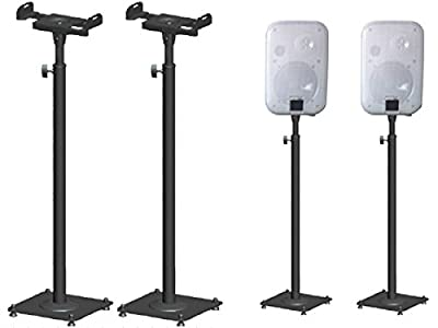DRALL INSTRUMENTS 2 Pieces Speaker Stands made of metal Loudspeaker Stand Height Adjustable with Trunking Black Stand Model: BS16Bx2 from YUMATRON GmbH