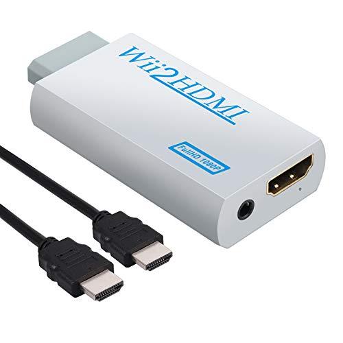 CAMWAY Wii zu HDMI Adapter, 720/1080P HD Konverter Converter, extra 3,5mm Buchse Audioausgang, mit 1m HDMI Kabel für Nintendo Wii, unterstützt alle Wii-Anzeigemodi (NTSC 480i 480p, PAL 576i)