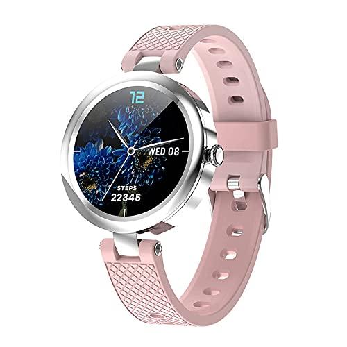 G&UWEI Reloj inteligente para mujer, medición de temperatura, monitor de frecuencia cardíaca, 5ATM impermeable Sleep Fitness Tracker Watch, compatible con teléfonos Android IOS, rosa