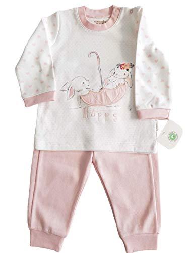 Bekleidungsset für Baby - Mädchen Langarm-Shirt Top + Hose Outfits aus 100% Baumwolle mit Hasen Motiv Neugeborenen Erstausstattung - Gr. 68