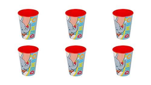 ALMACENESADAN 2640; Pack 6 Vasos Reutilizables Disney Dumbo; Ideal para Fiestas y cumpleaños; Capacidad 200ml; Producto de plástico; No BPA