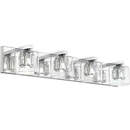 Hewego 4 Lights Bathroom Vanity Lighting Fixture, 30 inch LED Bathroom Light Chrome Vanity Lights Modern Crystal Bathroom Light Fixtures (Bulbs Excluded)