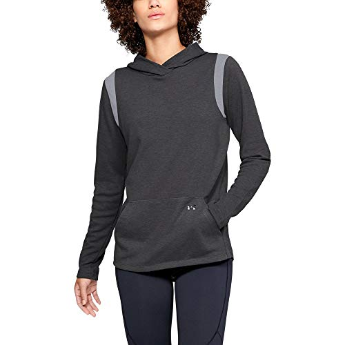 Under Armour Damen ColdGear Layer Hoodie, Damen, Reißverschluss, Sweatshirt, Women's ColdGear Layer Hoodie, Charcoal Light Heath (019) / Schwarz, Small