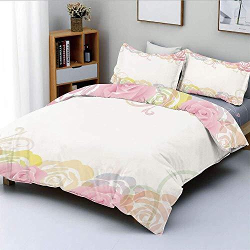 Juego de funda nórdica, marco floral con bordes tiernos y elegantes de primavera con silueta abstracta de rosas Juego de cama decorativo de 3 piezas con 2 fundas de almohada, multicolor, el mejor rega