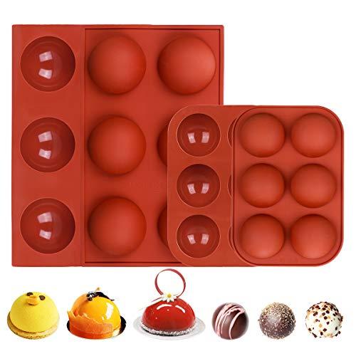 Moule Forme Demi Sphère pour Chocolat 4 Pcs Moule de Dôme en Silicone pour Mousse Gâteau Boule de Chocolat Bombes au Chocolat Chaud moulle Patisserie Entremet ( 2 Grands + 2 Petits )