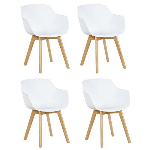 EGGREE 4er Set Esszimmerstühle Skandinavisch mit Armlehne und Starke Buche Stuhlbeine, Modern Design Sessel für Büro Küche Wohnzimmer, Weiß