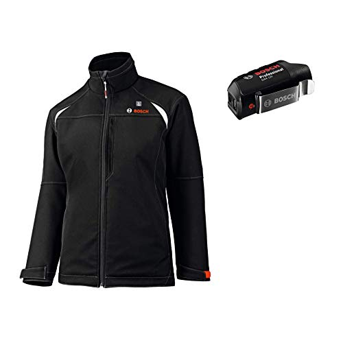 Bosch Professional Beheizbare Jacke GHJ 12+18V Unisex (ohne Akku, 12/18 Volt, Schwarz, Größe S, im Karton)