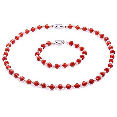 JYX Delicato 7mm intagliato in corallo rosso e collana di perle bianche