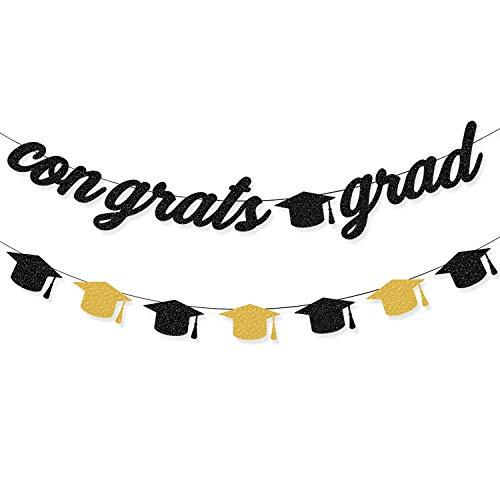 CAVLA Glitter Congrats Grad Banner and Graduation Cap Banner 2021 Black Gold Glittery Graduation Garland Banner with Graduation Cap Signs Graduation Party Supplies for College Senior Grad Decorations