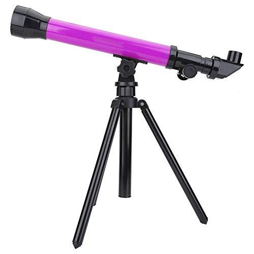 Hakeeta Telescopio para niños con trípode Plegable, telescopio portátil para niños y Principiantes, Equipado con oculares Intercambiables 20X, 40X, 60X, Gran Set de exploración Espacial(púrpura)