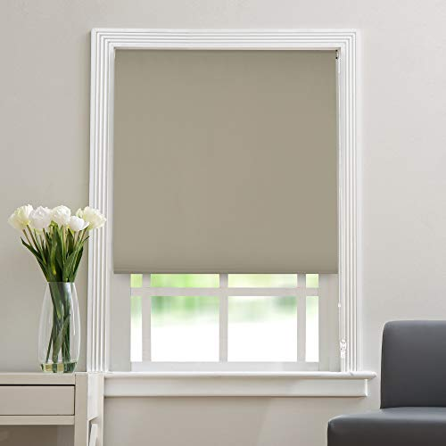 """Deco Window Polyester Blend Blackout Roller Blinds for Windows (36"""" Wide X 84"""" Long, Silver Brown)"""
