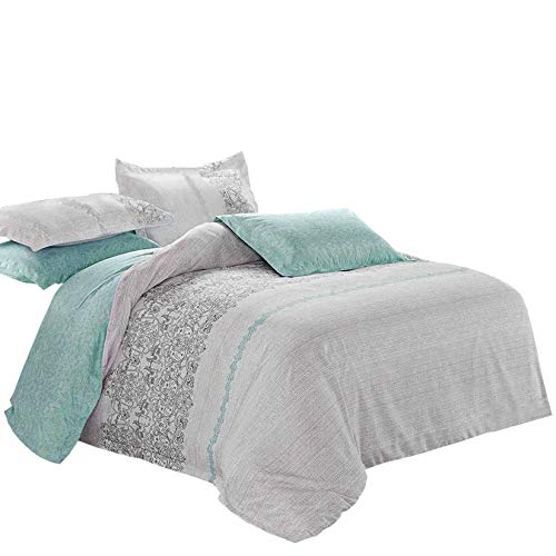Wake In Cloud - Gray Duvet Cover Set, Reversible with Grey Black Teal Turquoise, Soft Microfiber Bedding with Zipper Closure (3pcs, King Size)