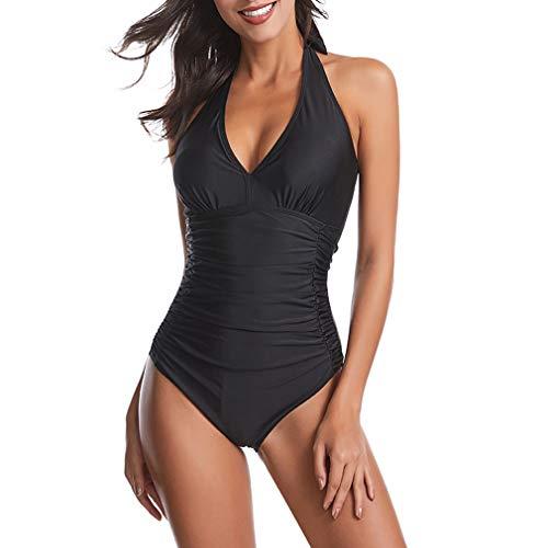 Womens halter hals eendelig badpak hoge taille badmode Backless duik badpak V-hals zwemmen kostuum buik controle badpakken,C,2XL