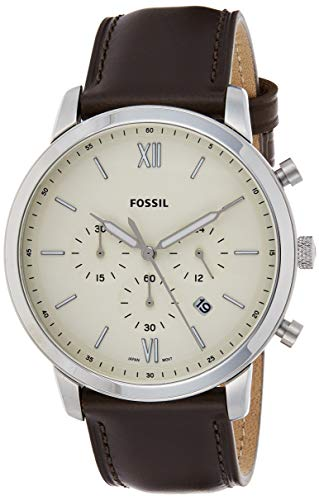 Fossil Men's Neutra Chrono Quartz Leather Chronograph Watch, Color: Silver, Brown (Model: FS5380)