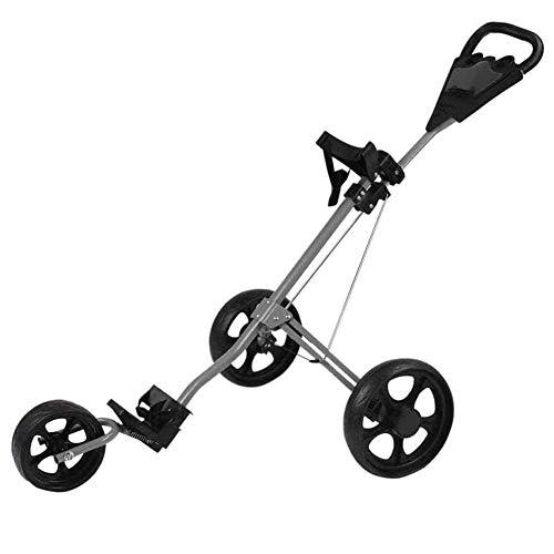 Golftrolley Golfwagen Golf Cart 3 Räder Faltbare Handwagen Easy Push und Pull Wagen Golf-Trolley mit Scorecard-Halter Schnell Öffnen und Schließen des Golf Caddy