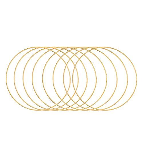 TOYANDONA 10 peças de anéis de metal apanhador de sonhos de ouro, argolas de metal, anéis de criação de macramê, retrô, floral, argola, coroa de macramê, para bricolagem, casamento, apanhador de sonhos, 10 cm