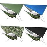 Nsdsb Camping Hamaca y Tienda Toldo Lona de Lluvia Impermeable Mosquitera Toldo Verde Militar Pintado en Plata