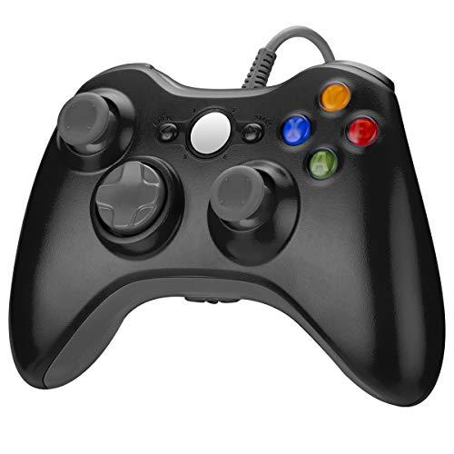 Powerextra Xbox 360 Game Controller - Controlador Doble Motor Controlador de Juegos Dual Vibrante con Cable para Microsoft Xbox 360 Xbox 360 Slim y PC Windows 7 8 10- Negro