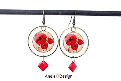 Boucles d'oreilles créoles, coquelicots, fleurs aquarelle pavot rouge blanc, cabochons verre