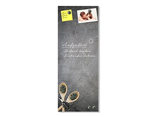 GRAZDesign magneetbord glas grijs - memoboard houten lepel - magneetwand kruiden / 501979 30x80cm