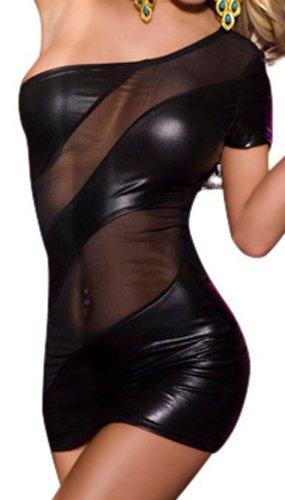 R-Dessous Partykleid schwarzes Mini Kleid erotische Dessous, Schwarz, Herstellergroesse S/M (34-36-38)