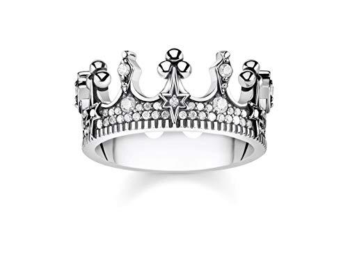 Thomas Sabo GmbH Women Ring Crown Silver 925 Sterling Silver, Blackened TR2224-643-14