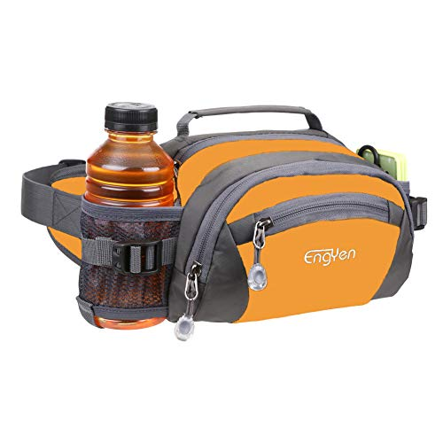 ENGYEN Fanny Pack Waist Bag for Women Men, running packs gear with Phone Water Bottle holder Adjustable belt, for Travel Workout Hiking, carrying iPhone money, multi colors… (orange)