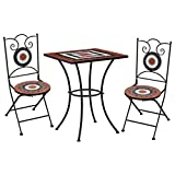 vidaXL Set Bistrò 3 pz con Mosaico Robusto Elegante Tavolo e Sedie per Esterni Arredi Giardino Patio in Ceramica Terracotta e Bianco Telaio in Ferro