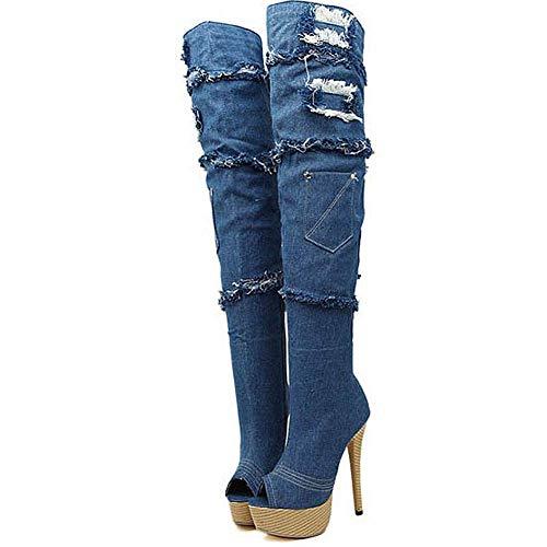 Broken Hole Ladies' Fish Mouth Cowboy Boots, hoge hakken Laarzen Comfortabele Dames 10cm Heel, Cadeaus for vriendinnen en moeder slippers (Size : 42)