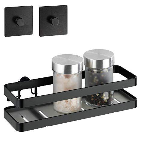 WENKO Turbo-Loc® Gewürzregal Gala - Gewürzständer, Küchenablage, pulverbeschichtetes Metall, 22 x 10.1 x 9 cm, Schwarz