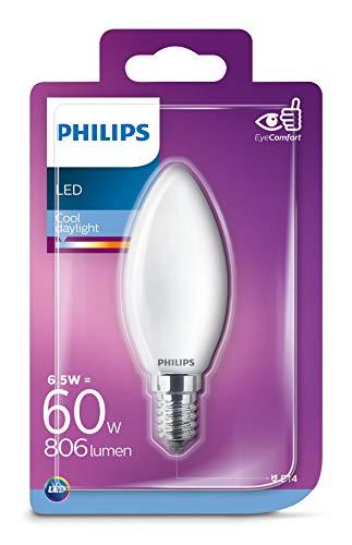 Philips - Bombilla LED de cristal aceituna 60 W E14 luz fría 6500 K