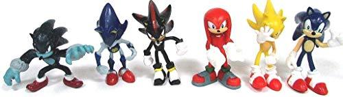 Sonic 6 Piece Figure Set ft.Sonic, Shadow, Werehog, Metal Sonic, Knuckles & Super Sonic