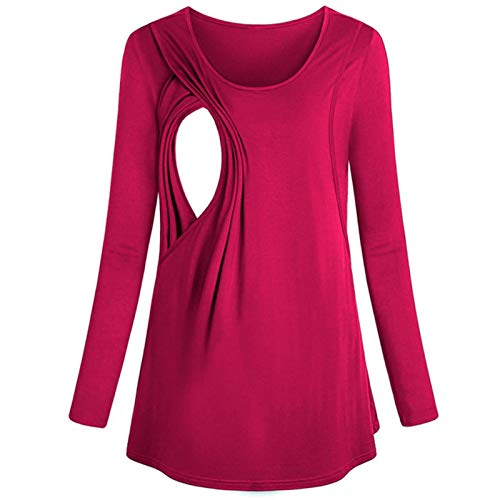 LUOSIFEN Women's Long Sleeve Maternity Layered Nursing Tops For Breastfeeding Bouse Women's Clothing Maternity Clothes, Hot Pink,XL